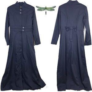 Navy Blue Fitted Dress Jacket Abaya Goth Taylored